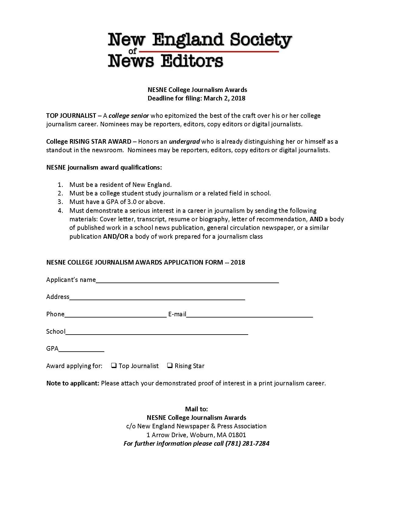 nesne college journalism awards application 2018
