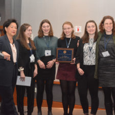 The Register at Burlington High School get First Amendment Award. lft to rt: Janet Wu, Halle Newman, Nataleigh Noble, Jenna Peterson, Julia Shannon-Grillo, Beth Fialko Casey.