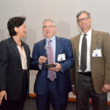 lft to rt: Janet Wu, Andrew Julien, Dave Altimari. The Hartford Courant receives the New England First Amendment Award. Boston Renaissance Waterfront Hotel.