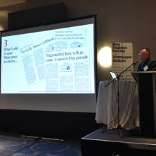 "Kevin Moran leads a segment of the ""Engage Your Newspaper Audiences in New Ways"" workshop at the New England Newspaper Convention, 2019."