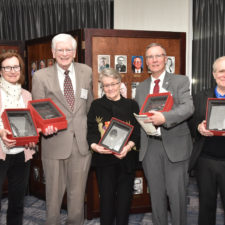 Hall of Fame Inductees. Left to rt: Mary Murphy representing her late husband W. Zachary (Bill) Malinowski, John Widdison, Pamela Heinrich MacPherson representing her father Frank Heinrich, Joseph W. McQuaid, and Bob Katzen at the New England Newspaper Convention, 2019.
