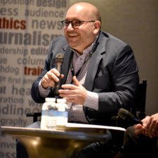 Keynote speaker Jason Rezaian, Washington Post, answers questions from the audience at the New England Newspaper Convention, 2019.