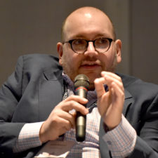 Keynote speaker Jason Rezaian of the Washington Post talks about Iran at the New England Newspaper Convention, 2019.